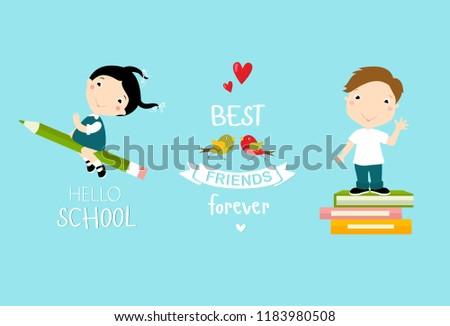 "Vector set ""hello school"". Pupils, cartoon boy, cartoon girl"