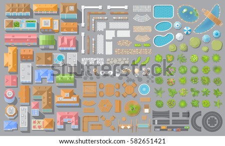 Vector set. Houses, architectural elements, furniture, plants. Top view. Collection for landscape design, plan, maps. View from above.