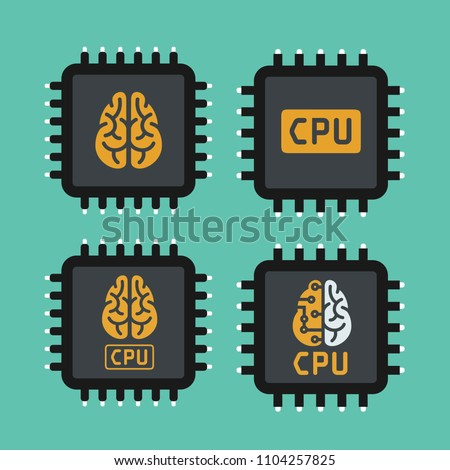 Vector set Icon of computer chips. The computer processor depicts the brain and text: CPU processor.