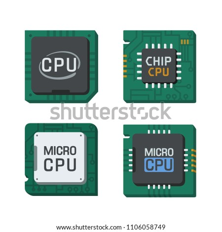 Vector set Icon of computer chips. The processor has the inscription: CPU, chip, micro-chip, processor