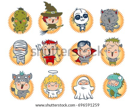 vector set icons children with