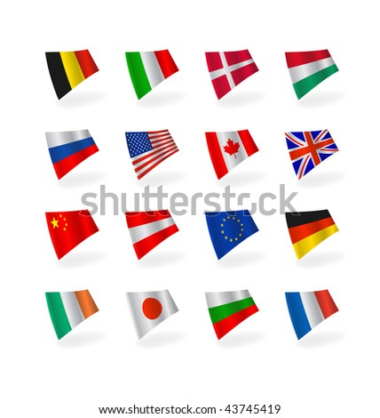 Vector set icons countries  fluttering flags