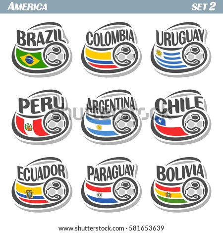 Shutterstock Vector set icons of Flags American National Teams with Soccer ball: teams countries centennial Cup America or copa america centenario, south american football national logo flags for soccer tournament
