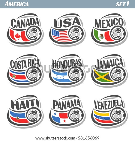 Shutterstock Vector set icons of Flags American National Teams with Soccer ball: teams countries centennial Cup America or copa america centenario, north american football national logo flags for soccer tournament