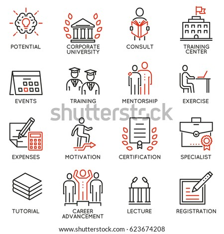 Vector set icons related to career progress, coaching, business people training, tutorship and professional consulting service. Mono line pictograms and infographics design elements - part 2