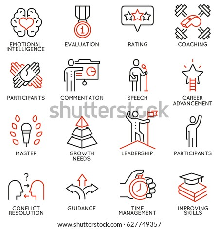 Vector set icons related to career progress, coaching, business people training, tutorship and professional consulting service. Mono line pictograms and infographics design elements - part 3