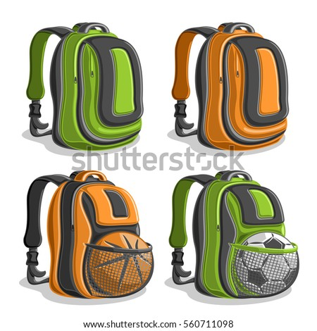 Vector set icons sports Backpacks, green boys college back bag with handle, orange mens rucksack with mesh pocket for basketball, football ball, youth sport backpack for school, classic kids knapsack