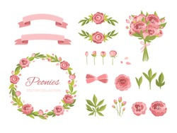 Vector set illustration. Flowers crown, botany, leaves, peonies, floral, bouquet. The perfect design for greeting card, packaging, wedding card, kitchen decor, cosmetics, natural, organic products