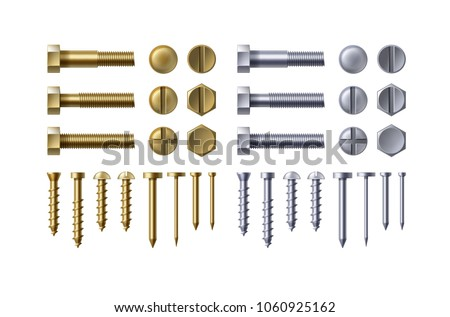 Vector set illustration of construction steel and metal brass bolts, nails rivets screws isolated on white background