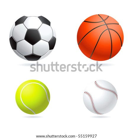 Vector set  illustration of sport balls