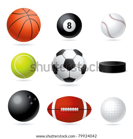 Vector set illustration of sport balls.