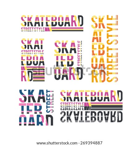 vector set illustration skateboard freestyle street style legendary rider, graphics for t-shirt ,vintage design logo, label, badge