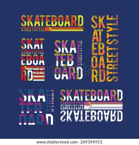 vector set illustration skateboard freestyle street style legendary rider, graphics for t-shirt ,vintage design logo, label, badge