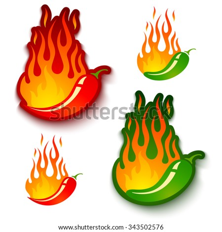 Shutterstock Vector set illustrations of a hot jalapeno and chili peppers in fire