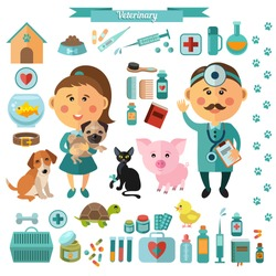 Vector set in flat style with vets, dog, cat, piglet, pills, medicine and pet accessories