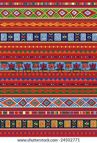 Vector set including ethnic African pattern with multicolored typical
