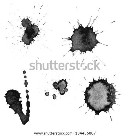 Vector set: ink blots