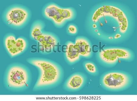 vector set islands top view