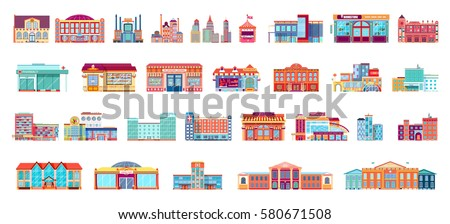 Vector set isolated icons architecture buildings structures bank, pharmacy, school, office building, Town Hall, kindergarten, hospital, police station, institute academy, fire department in flat style