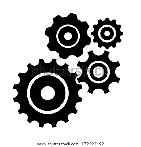 Vector set isolated on white. Gear, cog, sprocket, wheel
