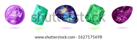 Vector set isolated on white with purple, violet, green and dark gemstones, minerals, mascot, amulet, talisman, periapt amethyst, beryl, black fire opal, emerald, taaffeite Jewelry collection Imagine de stoc ©
