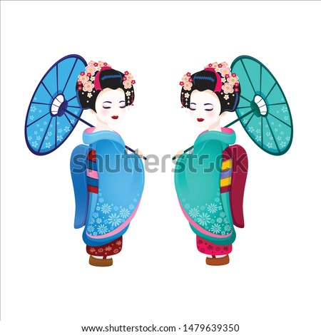 vector set japan girl in kimono