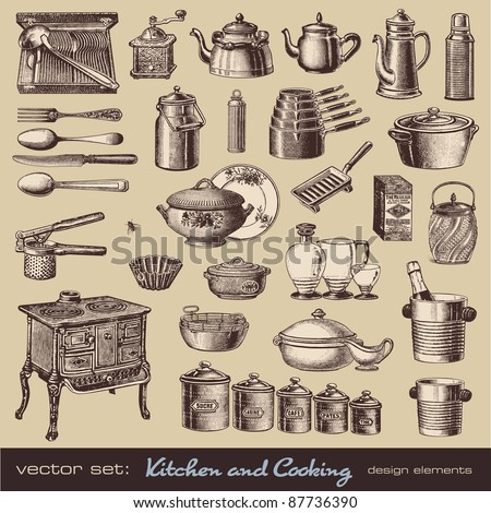vector set: kitchen and cooking - collection of vintage kitchen items and tableware - stock vector