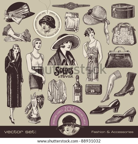 vector set  ladies fashion and...