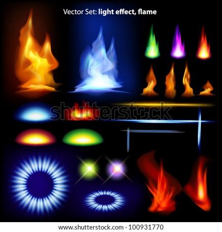 vector set  light effect  flame