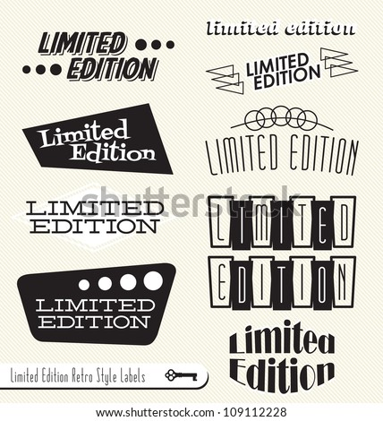Vector Set: Limited Edition Vintage Retro Style Labels and Headers to use as Element in Your Design