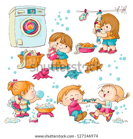 Vector set - little girls and boys wash clothes