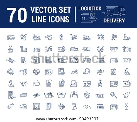 Vector set. Logo, icon. Delivery, Logistics. Linear, flat, contour, thin. Web site template, infographic. Concept transportation cargo, parcel delivery.Sign,symbol. Payment, transportation, loading.