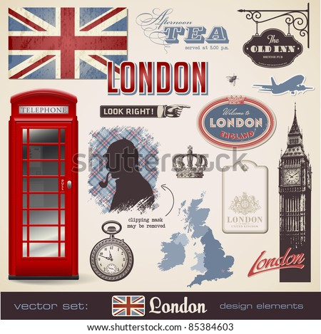 vector set: London - variety of London related design elements