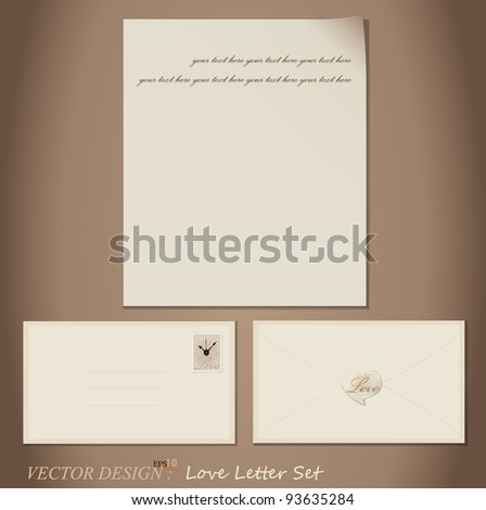 Vector set: Love Letter designs - paper and envelopes.