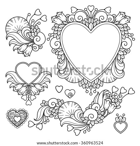 vector set love valentines day