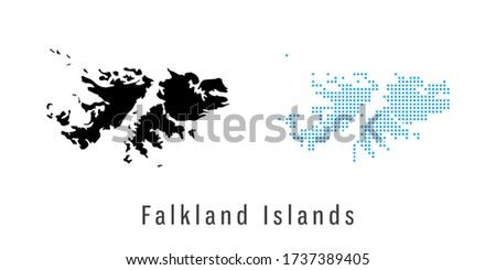 Vector set map of Falkland Islands black and blue dots.