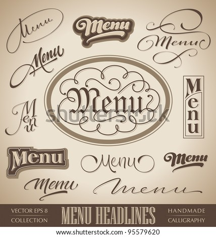vector set: menu headlines, handmade calligraphic lettering (eps8)
