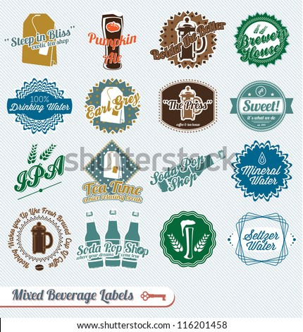 Vector Set: Mixed Types of Beverages Labels and Icons
