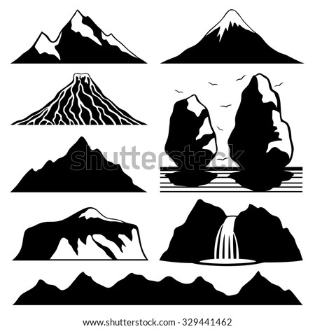 vector set mountain icons
