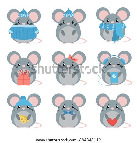 vector set mouse in warm