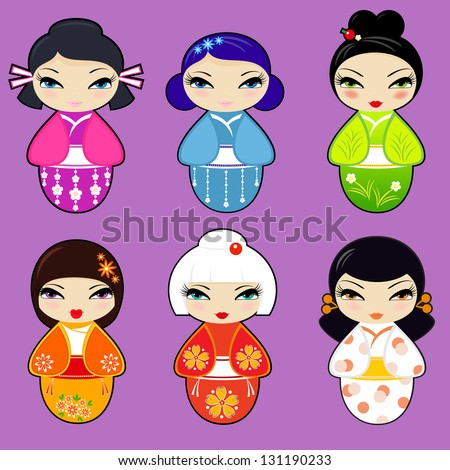 Stock Photo Vector set N 1 of cute kokeshi dolls