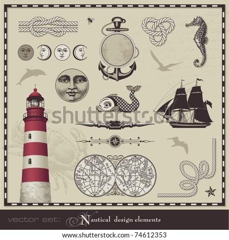 vector set: nautical design elements - set of retro maritime illustrations