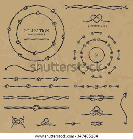 Vector set nautical elements of the rope. Rope frames, borders and knots. Decorative elements in marine style.