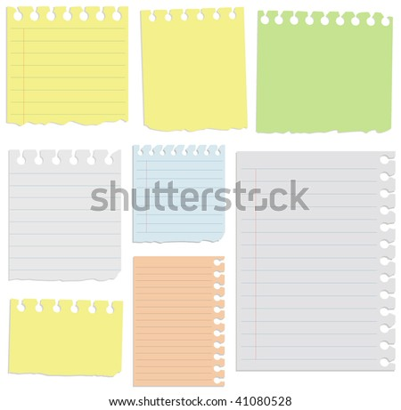 Vector set notepad sheets. All sheets organized in layers for usability.