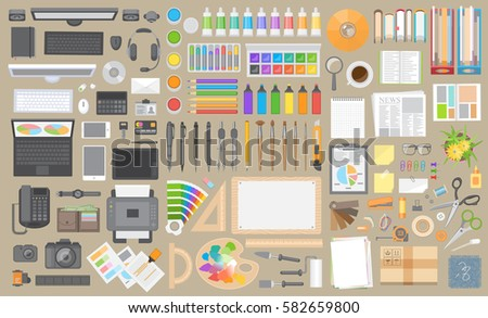 Vector set. Objects for business and art on a office desk. Top view. Workspace creator, artist, designer, businessman. Computer hardware and gadgets. Paints and stationery. Paper and desktop objects.
