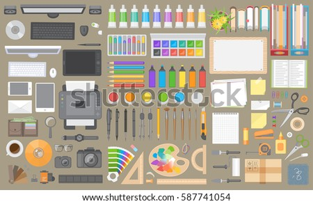 Vector set. Objects for design on the office desk. Top view. Workspace creator, artist, designer. Computer hardware and gadgets. Paints and stationery. Paper and desktop objects. (View from above)