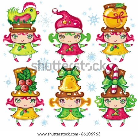 Vector set of a cute Christmas girls wearing santa hats and top-hats with holiday decoration: Christmas bird, glittering star, sweet apple, christmas holly, golden jingle bell, candy-cane.