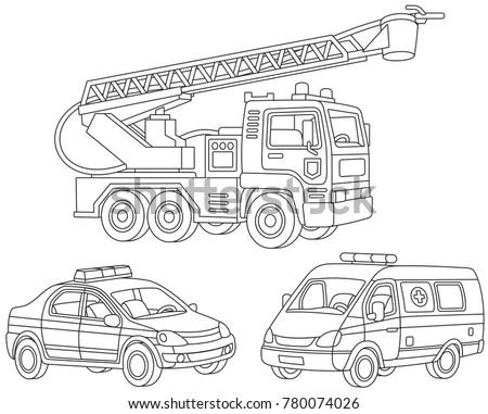 vector set of a fire truck  an