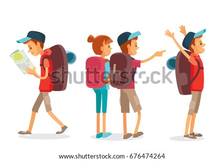 Vector set of a man hiking with backpack and map