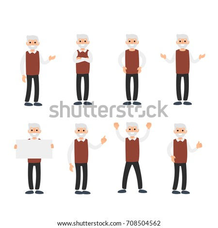 Vector set of a man in different positions